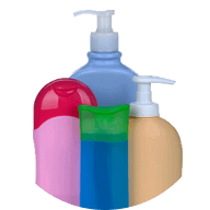 plastic colored bathroom containers